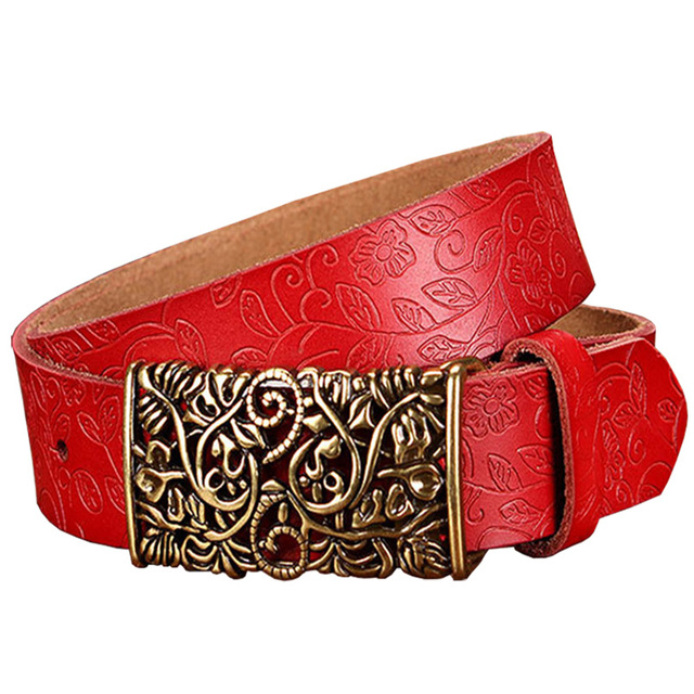 Women's Wide Belt Fashion Genuine Leather Vintage Floral Pin Buckle