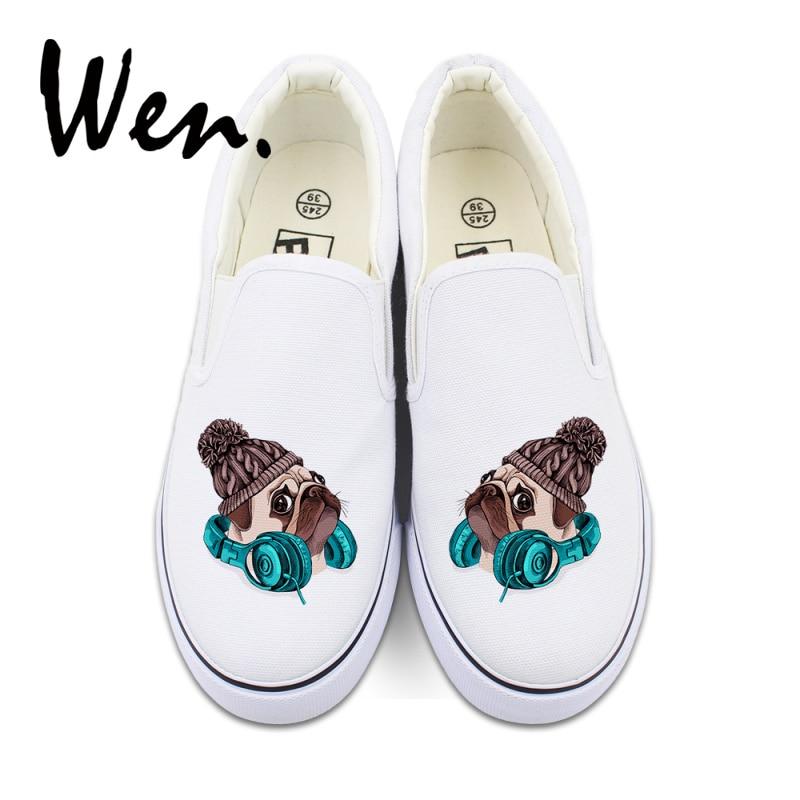 Wen White Slip On Canvas Women Vulcanize Shoes Original Design Pet Dog Pug Low Top Platform Sneakers Shallow Mouth Plimsolls