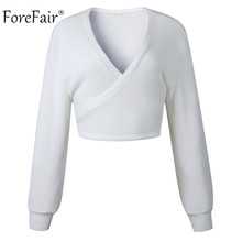 FREE SHIPPING Off Shoulder V Neck White Sweaters JKP923