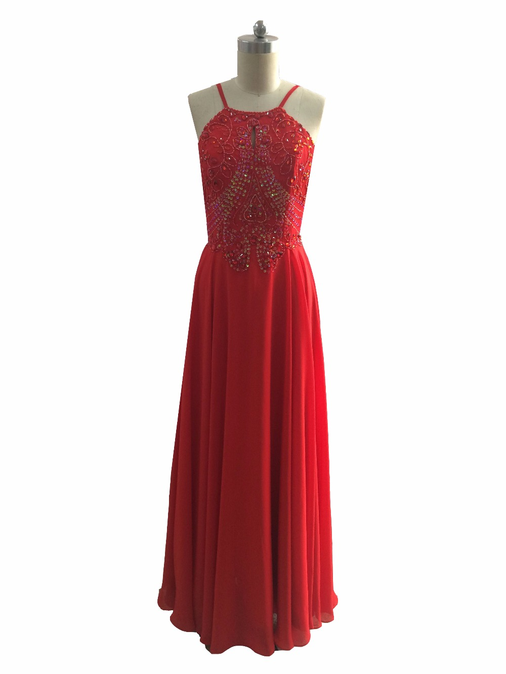 New <font><b>Sexy</b></font> Red Backless <font><b>Evening</b></font> <font><b>Dresses</b></font> Chiffon Long Beaded and Crystals <font><b>Evening</b></font> Party <font><b>Dresses</b></font> <font><b>2018</b></font> image