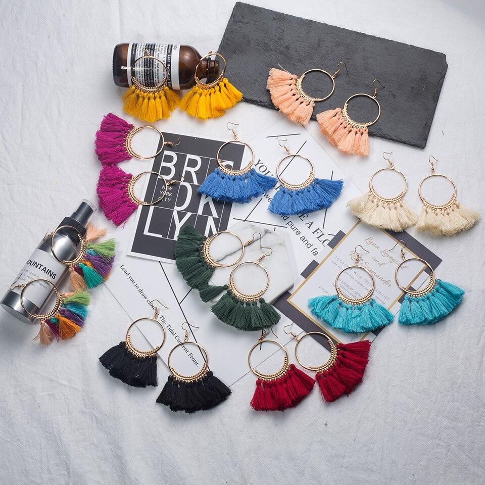 2018 Mode Bohemien Etnische Omzoomd Kwast Oorbellen voor Dames Gouden - Mode-sieraden - Foto 3