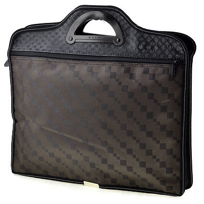 Textured Plaid Pattern 2 Sections Zippered Dark Brown Conference File Pocket Bag dark blue zippered faux leather handle conference file contract bag container