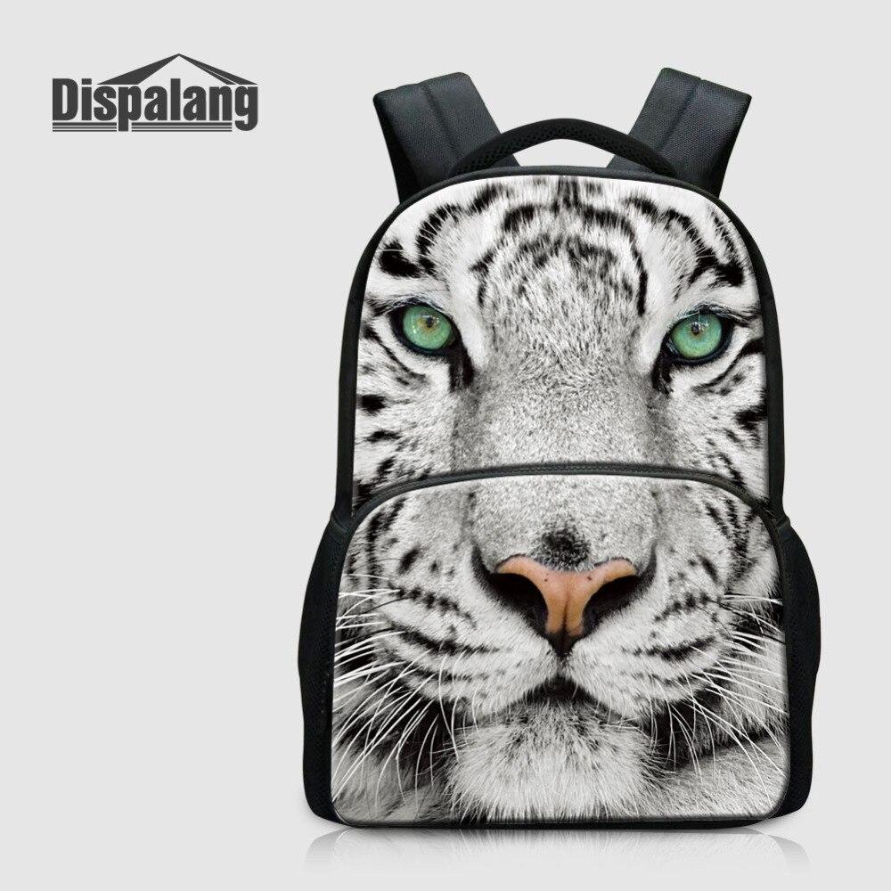 Dispalang Felt Backbag Tiger Print Laptop Backpack Notebook School Travel Bags Unisex Large Capacity Multi-function Shoulder Bag