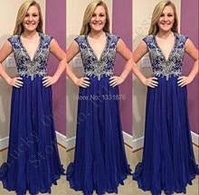 Royal Blue Lange Prom Kleider 2016 Schnelles Verschiffen Elegante Chiffon lange Robe Soiree Abendkleid Frauen V-ausschnitt Kristall Perlen kleider