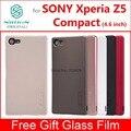Para sony xperia z5 compact case cubierta helada del caso de nillkin para sony xperia z5 compact con película de vidrio