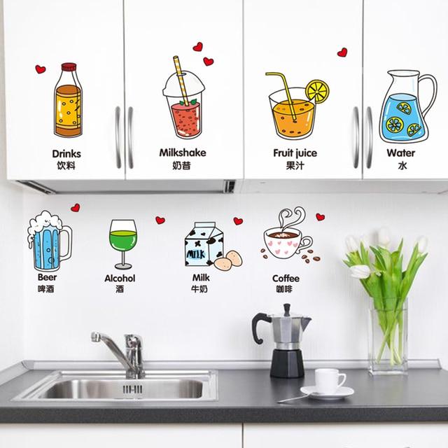Carino Bere Decorazione Wall Sticker per Cucina Rimovibile Wall ...