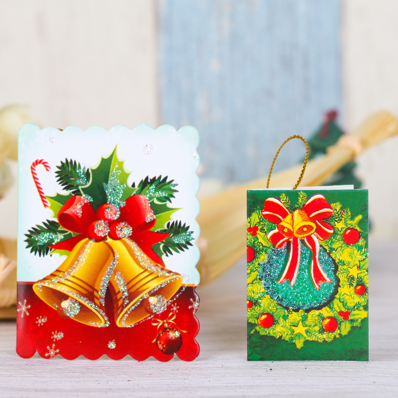 50pcslot mix colorful christmas tree decorations hanging ornament card message christmas greeting cards christmas wishing card in pendant drop ornaments