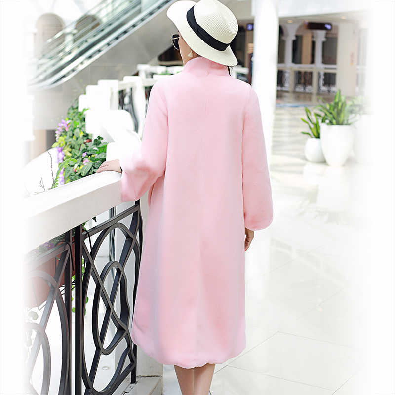Nerazzurri ロングフェイクファーのコートの女性 2019 冬ソリッドスタンドカラールースグリーン黒ピンク豪華な上着プラスサイズ 5XL 6XL 7XL