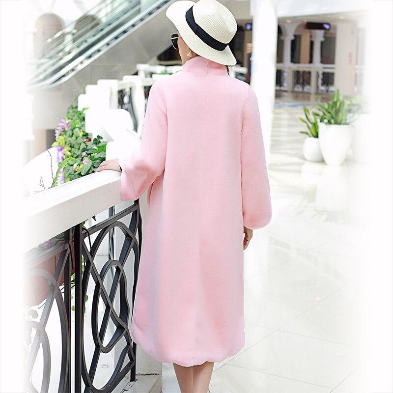 Image 2 - Nerazzurri Long faux fur coat women 2019 winter solid Stand Collar loose green black pink plush outerwear plus size 5XL 6XL 7XL-in Faux Fur from Women's Clothing
