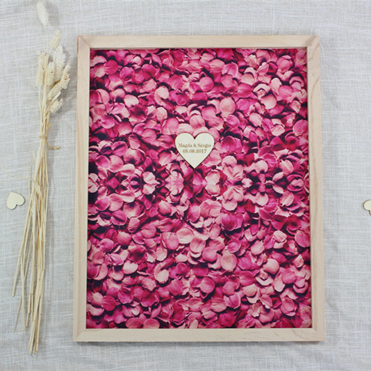 Personalized Wedding Guest Book Framerustic Wooden Heart Signature
