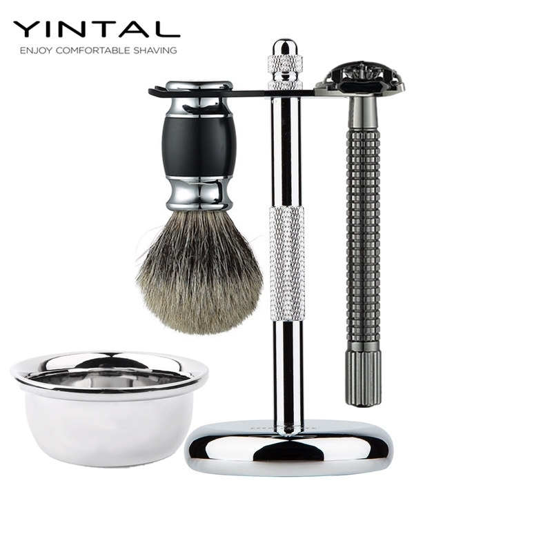 Professional 4 In 1 Stainless Steel Razor Set Men Beard Razor Shaving Brush Bowl Stand Holder Wet Shaving Luxury Razor Set Gift кольца