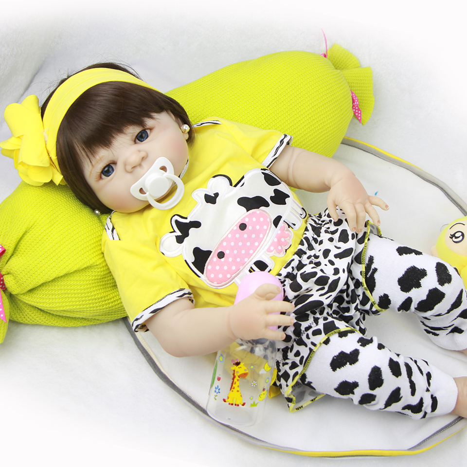 57 cm Reborn Baby Dolls Full Body Silicone 23'' Lifelike Babies Doll Toy For Toddler Realistic Boneca Reborn Menina Gifts christmas gifts in europe and america early education full body silicone doll reborn babies brinquedo lifelike rb16 11h10