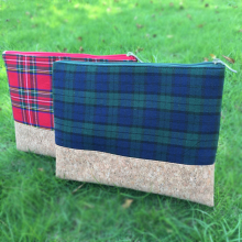 Wholesale Blanks Plaid Tartan Cosmetic bag Cork Patchwork Clutch Makeup Bag Cosmetic Organizer DOM103392