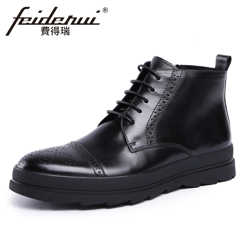 British Style Genuine Leather Men's High-Top Carved Ankle Boots Round Toe Handmade Riding Man Flat Platform Brogue Shoes YMX257 new arrival man handmade flat platform shoes genuine leather round toe carved men s cowboy riding high top ankle boots js22