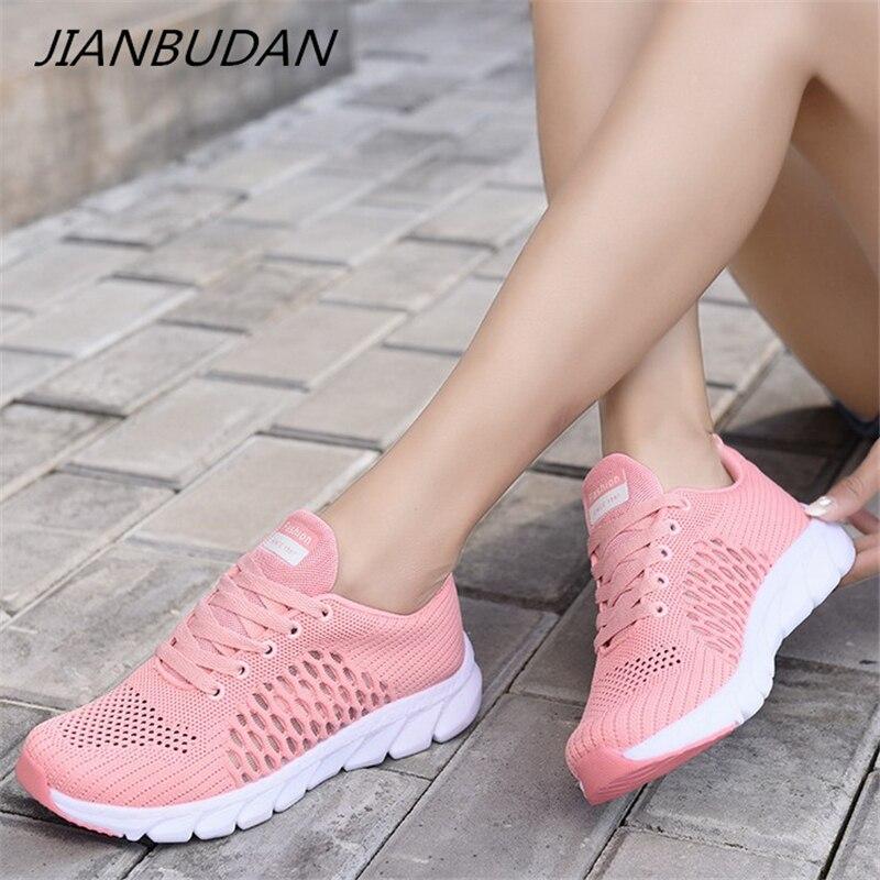 JIANBUDAN/суперлегкая женская обувь, летние кроссовки из дышащей сетки, повседневная обувь для бега, женская обувь для прогулок, 35 40 Кроссовки и кеды      АлиЭкспресс