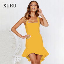 XURU 2019 spring new dress sleeveless sling ruffled square collar irregular fashion dresses