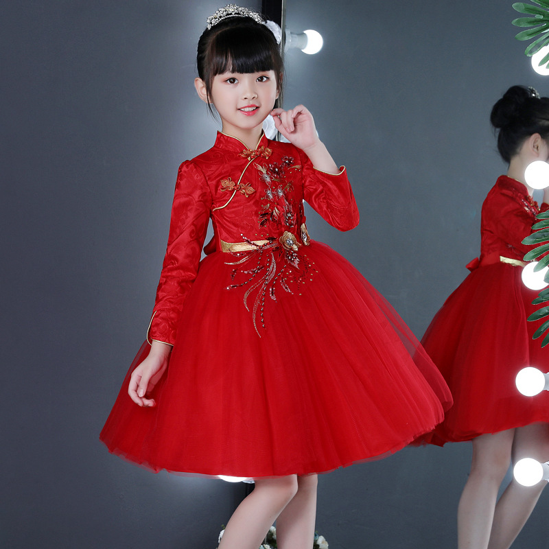 Exquisite Chinese Style Kids Girl Birthday Party Dresses Toddler Red Long Sleeves Autumn Flower little Girl Cheongsam Dress