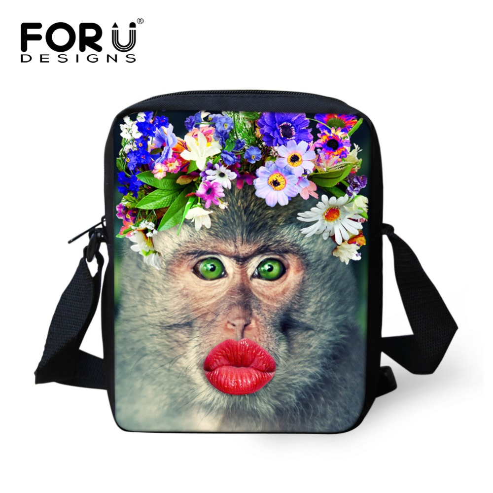 School Bags Customized Preppy Women Messenger Bags 3d Animals Monkey Pattern Cross Body Bag For Girls Causal Brand Mujer Small Women Bags Luggage & Bags