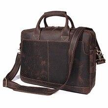 J.M.D High Quality Vintage Crazy Horse Leather Briefcase Portfolio Laptop Bag 7382R цена в Москве и Питере