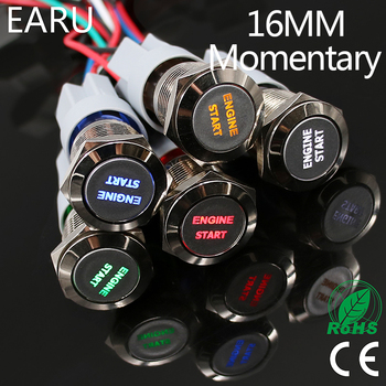 1pc 16mm Waterproof Stainless Steel Metal LED Momentary Power Push Button Switch Racing Car Auto Motorcycle Engine Start Starter image