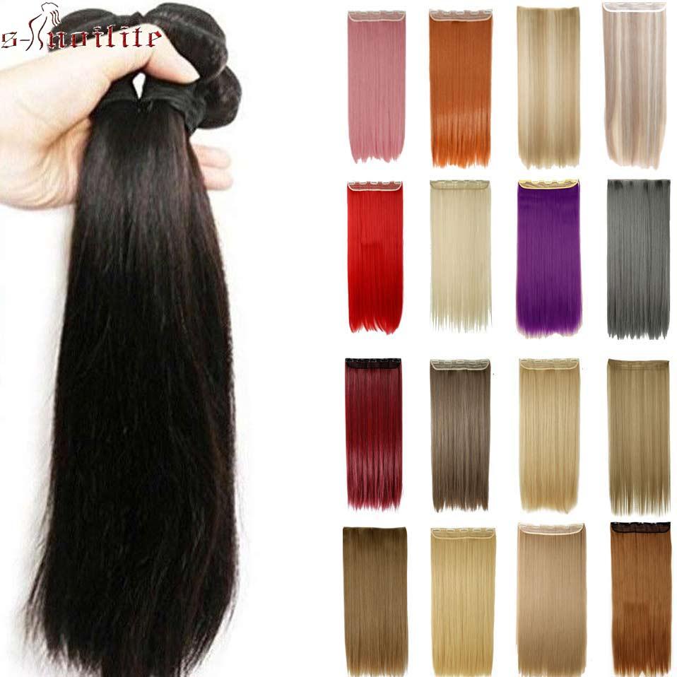 """S-noilite 26 """"ארוך ישר נשים קליפ בתוספות שיער ארוך מזויף שיער סינטטי שיער 5 קליפ תוספות אדום סגול ורוד שיער חתיכות"""