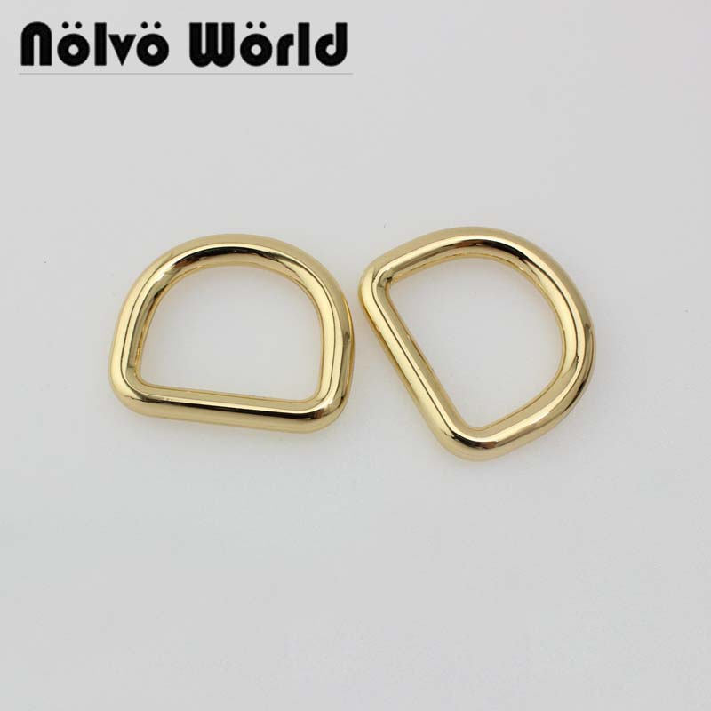 30pcs 4.5mm Line,25*19mm 1 Inch 5 Colors Metal D Ring Accessories For Bags Hardware Welded D Rings
