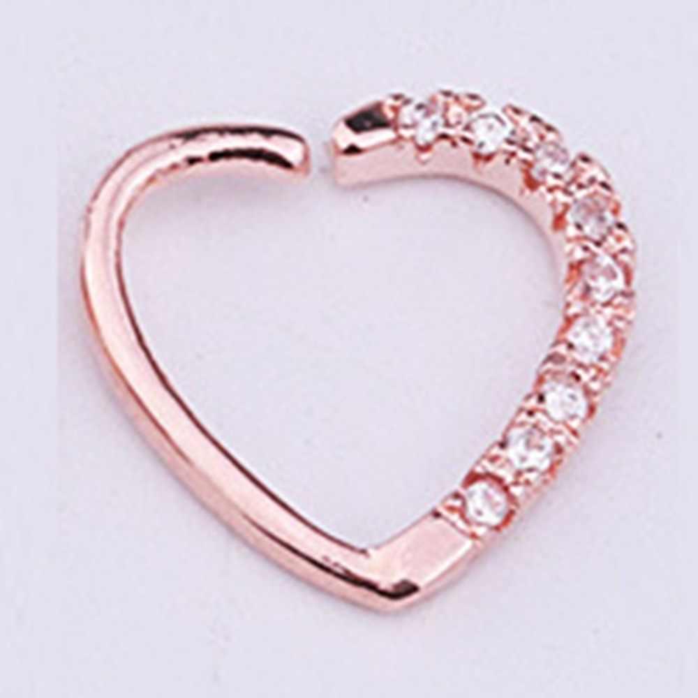 Imixlot 1 pc Rhinestone do Aço Inoxidável Em Forma de Coração Nose Hoop Septo Lip Anel Labret Tragus Cartilagem Da Orelha Piercing Jóias