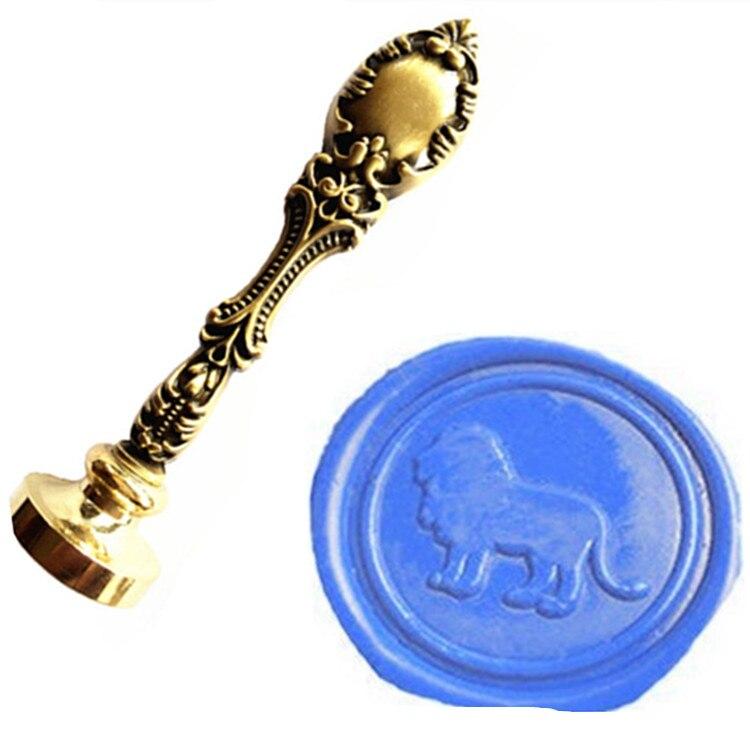 Vintage Lion Luxury Wax Seal Sealing Stamp Brass Peacock Metal Handle Gift Set Custom Picture Logo