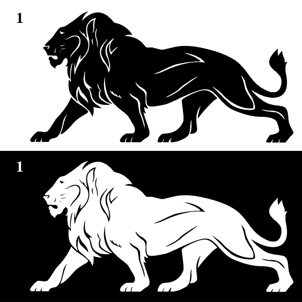 20CM*10CM The Lion car stickers SUPER LARGE black white reflective car styling covers accessories wall head tail Головная гарнитура