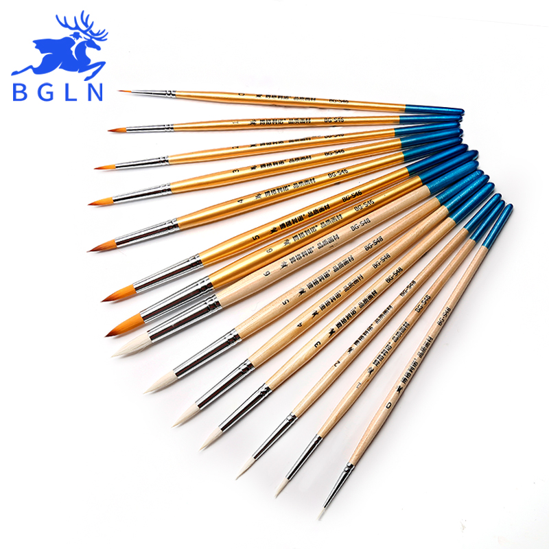 Bgln 7Pcs Wool Nylon Hair Paint Brush Set Round Shape Watercolor Brush For Artist Oil Acrylic Painting Art Supplies free shipping 6pcs odd numbers artist wolf horse hair paint brush set acrylic oil painting watercolor art supplies