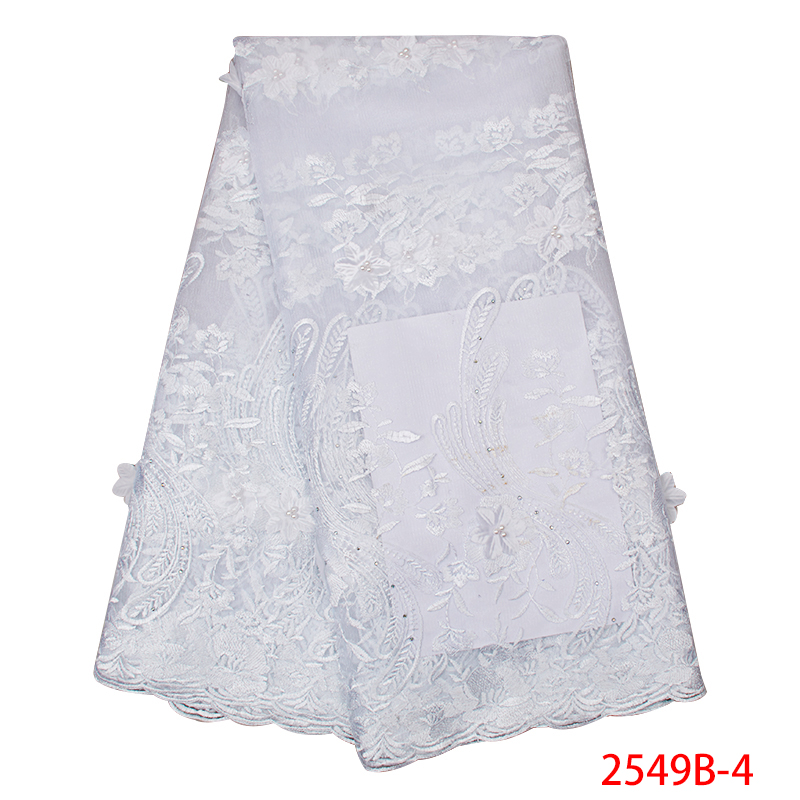High Quality Nigerian Beaded Lace Fabric 2019 3D Laces Fabric India French Tulle Mesh With Stones For Women KS2594B-4