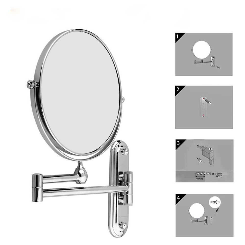 Floureon 8inch 10x Magnification Wall Mounted Double Side Makeup Mirror for Bathroom Bedroom