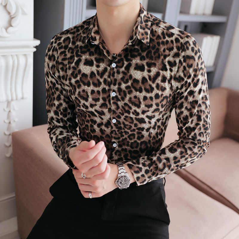Plus Size koreański Tuxedo moda 2019 wiosna jesień koszula męska Slim Fit z długim rękawem Leopard druku mężczyzna społeczne koszule sukienka 5XL-M
