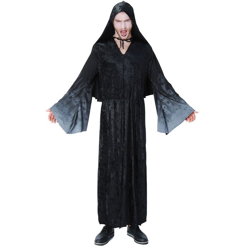 Halloween Purim Carnival Black Gothic wizard Costume Costumes for men Adult ghost death Fantasia Long Dress Cosplay Clothing