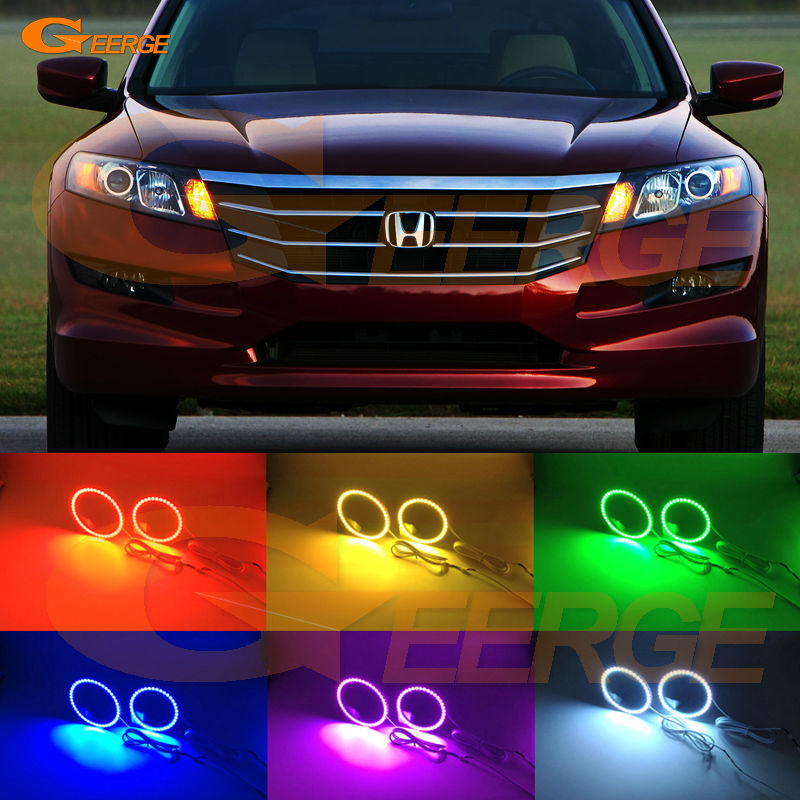 For honda Crosstour 2010 2011 2012 2013 2014 2015 Excellent Angel Eyes Multi-Color Ultra bright RGB LED Angel Eyes kit for alfa romeo mito 2008 2009 2010 2012 2013 2014 2015 excellent multi color ultra bright 7 colors rgb led angel eyes kit