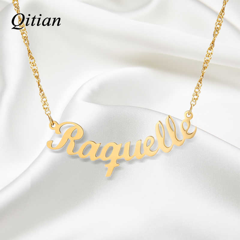 Personalized Name Necklace, Personalized Custom Handwriting Name Plate Pendants Necklaces Link Chain Jewelry Women Gift