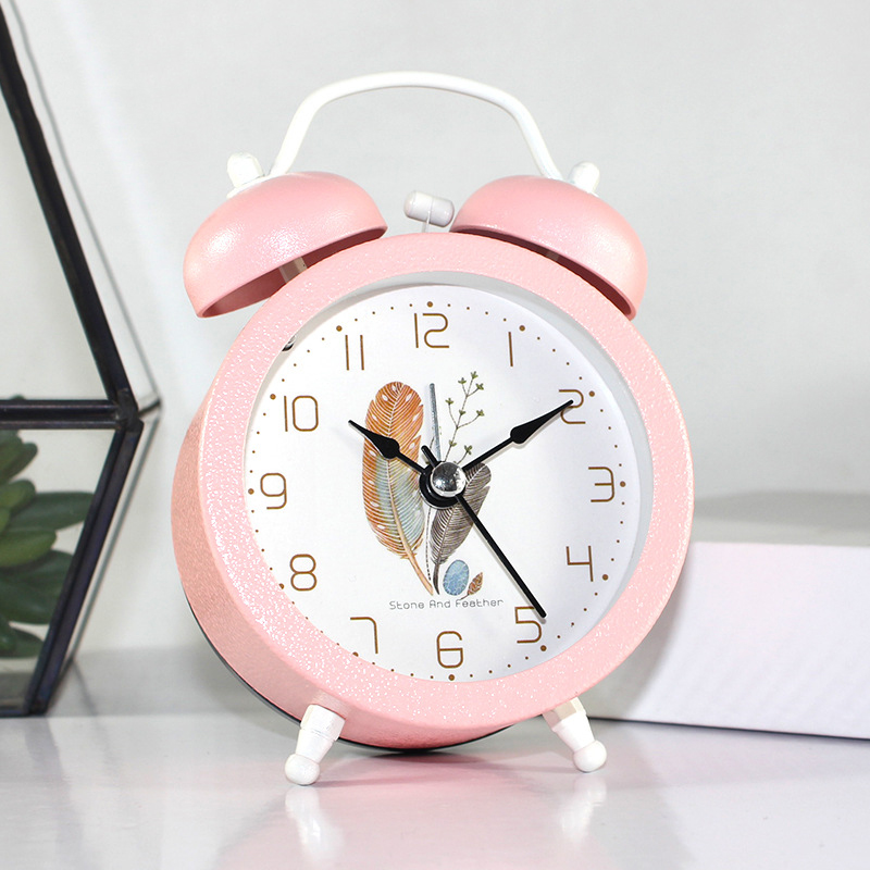 Home & Garden Round 3 Inch Childrens Bedroom Bed Head Mute Lamp Bell Alarm Clock Simple Home Decoration Wall Clocks Snooze Function Clocks Special Buy