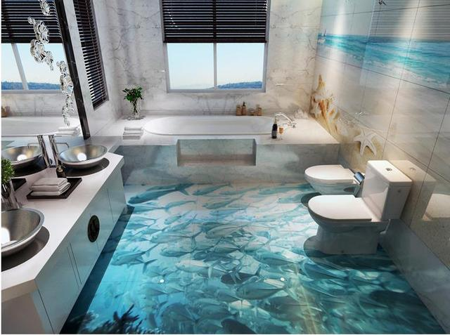 3d Fußboden Bild ~ D wall paper for living room d floor murals sea world blue fish