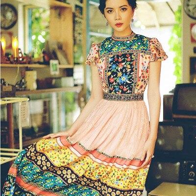 Женское платье с коротким рукавом, подиумное длинное платье из шифона, кружевное с отделкой стиле пэчворк, с цветочным принтом, лето 2019
