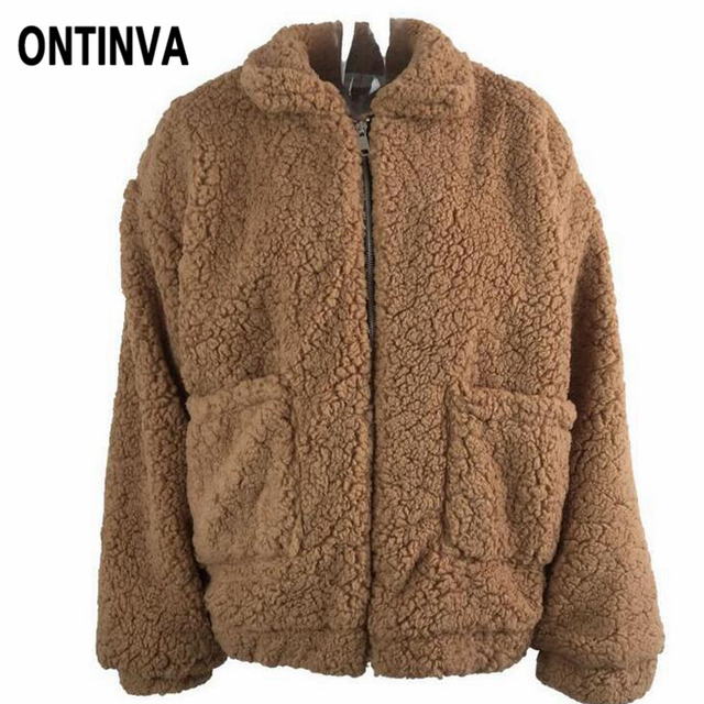 c7ba21d7fa2 Women Teddy Faux Fur Jackets Plus Size 2018 Fall Winter Warm Zipper Fur  Coat Femme Pocket Overcoat Casual Casacos Fluffy Outwear