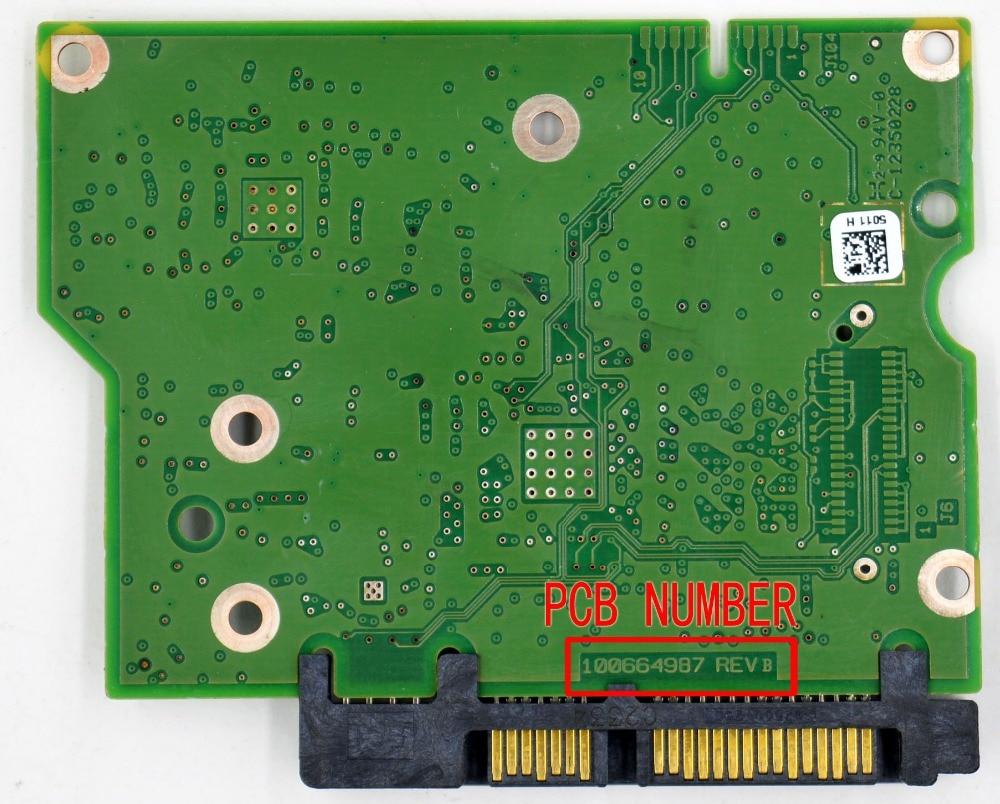 HDD PCB 100664987 REV B , 100664987 REV A , 5009 , 5011 , ST2000DM001 , ST1000DM003 , ST500DM002 used disassemble 100715234 rev a