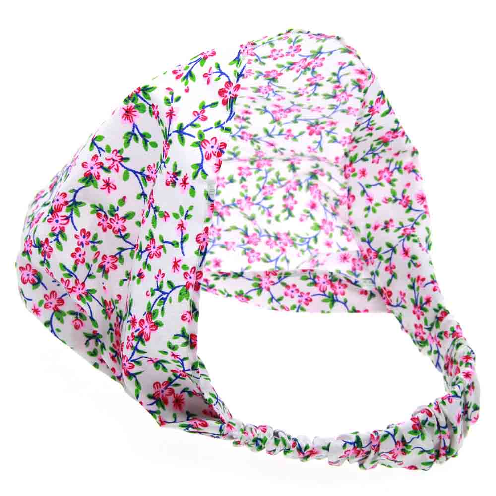 Retail Print Fabric Turban Headband For Kids Girls Elastic Wide Floral Bandana Hairband Headwrap Hair Accessories new velvet long turban chemo hat beany slouch baggy cap bandana hair loss bonnet tube