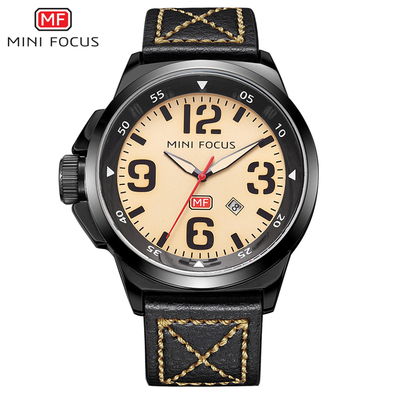 MINI FOCUS Brand Military Watch Men Sports Analog Clock Leather Strap Big Dial Clock Man Quartz Watches Army Relogios Masculino 2016 luxury brand military watch men quartz analog clock leather canvas strap clock man sports watches army relogios masculino