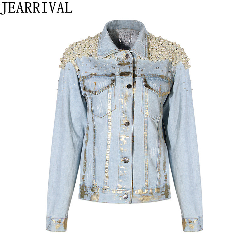Brand Fashion Denim Jacket 2018 New Spring Fashion Women Luxury Pearls Single Breasted Casual Jeans Coat Outwear Chaqueta Mujer
