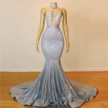 Блестящее Серебряное платье Русалка для выпускного вечера длинные