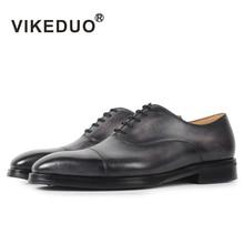 VIKEDUO Handmade Men Oxford Formal Shoe 2019 Gray Genuine Cow Leather Wedding Office Dress Plus Size Footwear Zapato Hombre