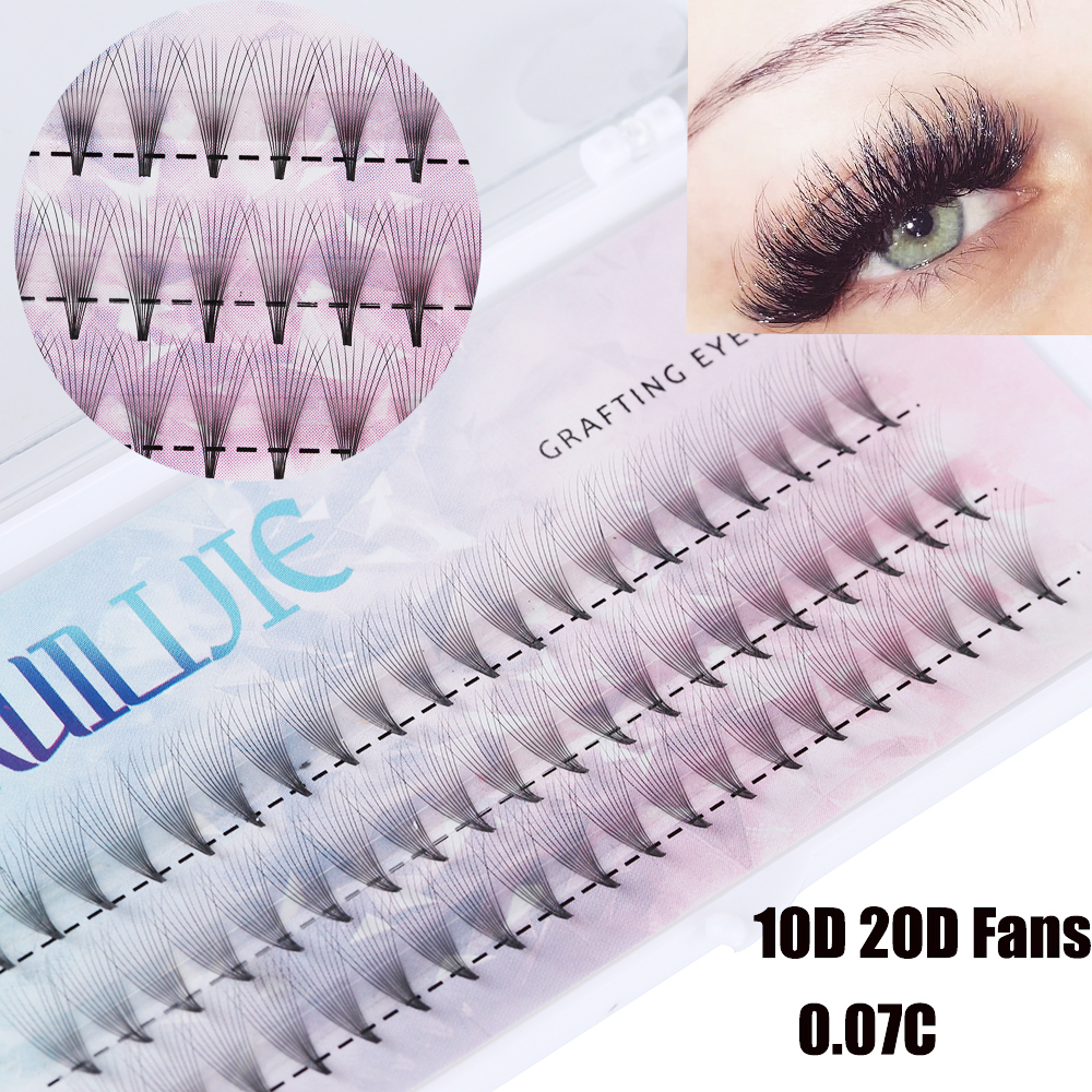 Image 2 - 10D 20D Premade Volume Fan False Eyelashes C Curl Knotted/Knot Free Individual Eyelashes Extension Natural Long Semi permanent E-in False Eyelashes from Beauty & Health