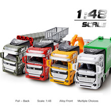 цена на Engineeri Car 1:48 Simulation Returning Alloy Fire Ladder Vehicle Engineering Excavator Garbage Truck Car Model Baby Kids Toys