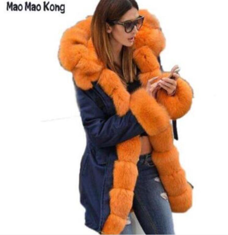 maomaokong 2018 Brand Long Real Fox Fur Coat Womens Winter Jackets Thick Warm Fur Lined Parka Natural Fur Coats