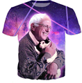 2016 New shelves Women Men Short sleeve Bernie Loves Kitty Cat in Galaxy Space 3D print T-Shirt harajuku casual summer tee tops